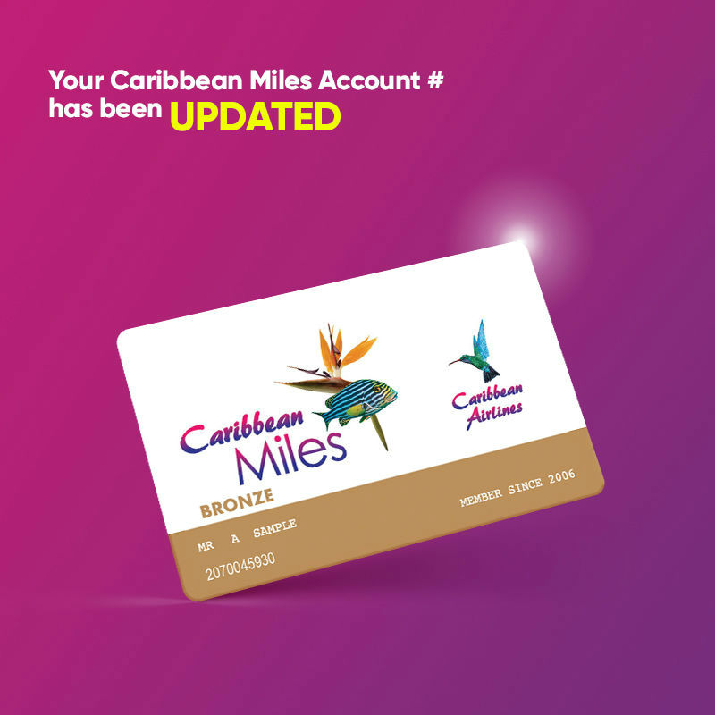 Caribbean Airlines - Bronze Miles Notice