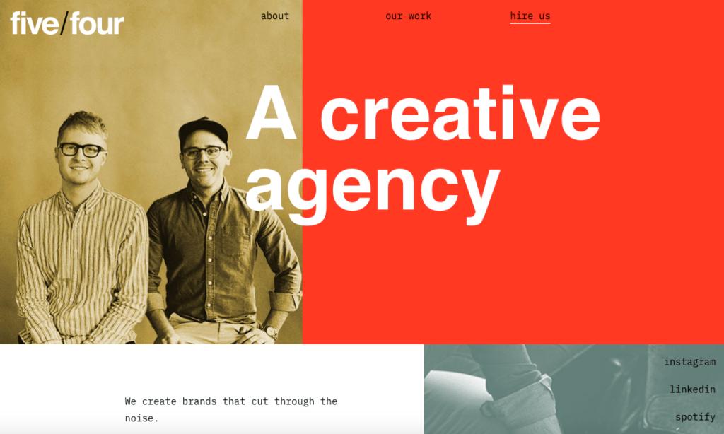 Website design colour palette example trend 2021